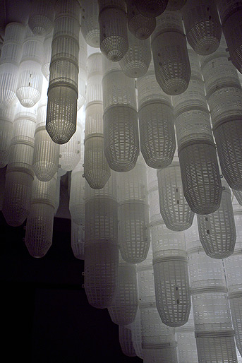 detailed view Deceive 2012, plastic shrimp traps, Lights, installation at PingPong art space Taiwan, size 300 x 300 x 350