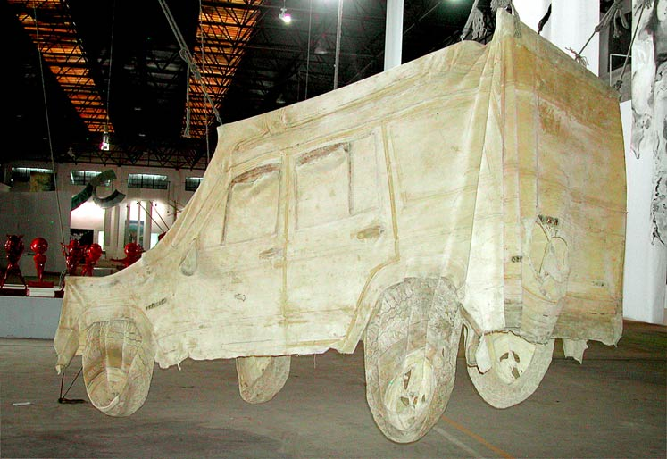 stripped car (jeep) 2007 Beijing ,A space materials : Latex,ropes 1000cm x 1000cm x 800 cm