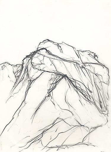 Berglandschaft, 2001, Mischtechnik, ca 40 x 27 cm - Wolfgang Stiller