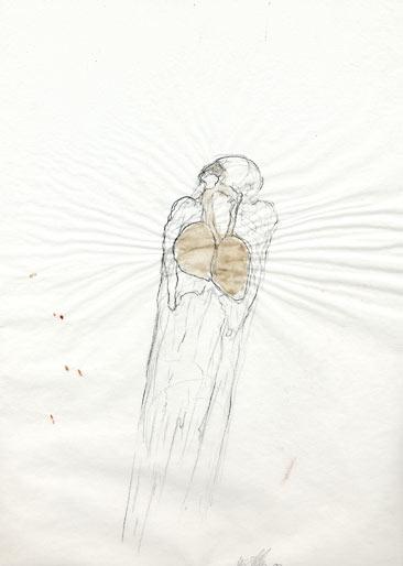 Lungenmann, 1988, Bleistift, Aquarell, 29.5 x 21 cm - Wolfgang Stiller