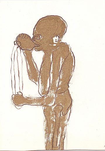 Trinker, 2000, Mischtechnik, ca 18 x 12 cm - Wolfgang Stiller