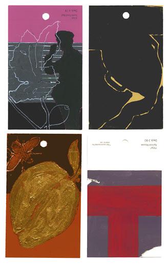 aspects of life 2004 No 1035;1087;845;1138, Mischtechnik auf Farbkartenmustern, Format : jeweils 12,8 x 7,6 cm- Wolfgang Stiller
