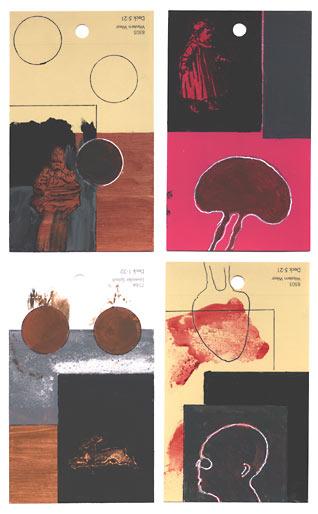 aspects of life 2004 No 1078;1062;1063;1080, Mischtechnik auf Farbkartenmustern, Format : jeweils 12,8 x 7,6 cm- Wolfgang Stiller