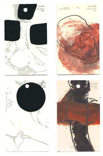 aspects of life 2004 No 759;865;757;748, Mischtechnik auf Farbkartenmustern, Format : jeweils 12,8 x 7,6 cm- Wolfgang Stiller