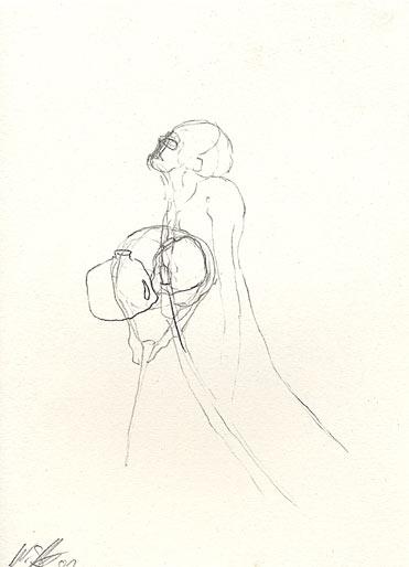 Mann mit Kannister, 2000, Bleistift, 29.5 x 21 cm - Wolfgang Stiller