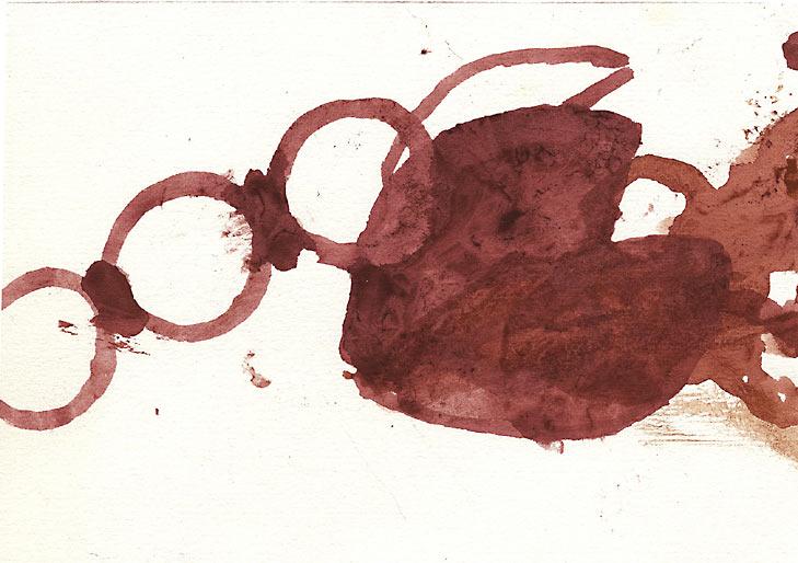 ohne Titel, 1998, Rotwein, 14.8 x 10.5 cm - Wolfgang Stiller