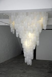 Deceive 2012, plastic shrimp traps, Lights, installation at PingPong art space Taiwan, size 300 x 300 x 350 - Wolfgang Stiller