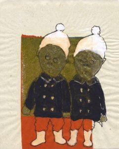 Tribute to the hereafter 1996 - 2010  - 2 Zipfel Tusche und Goldlack auf chinesischem Opferpapier - Wolfgang Stiller
