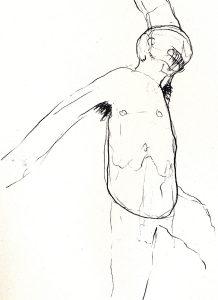 Mann mit haarigen Achseln, 1994, Bleistift, 14.8 x 10.5 cm - Wolfgang Stiller