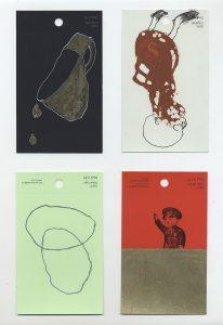 aspects of life 2004 No 14;15;16;17, Mischtechnik auf Farbkartenmustern, Format : jeweils 12,8 x 7,6 cm - Wolfgang Stiller