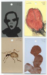 aspects of life 2004 No 36;37;38;39, Mischtechnik auf Farbkartenmustern, Format : jeweils 12,8 x 7,6 cm - Wolfgang Stiller