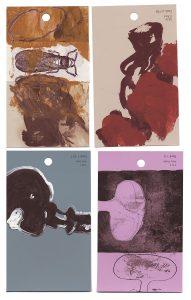 aspects of life 2004 No 40;41;42;43, Mischtechnik auf Farbkartenmustern, Format : jeweils 12,8 x 7,6 cm - Wolfgang Stiller