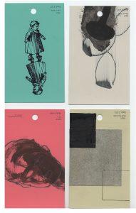 aspects of life 2004 No 28;29;30;31, Mischtechnik auf Farbkartenmustern, Format : jeweils 12,8 x 7,6 cm - Wolfgang Stiller