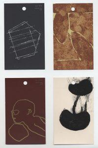 aspects of life 2004 No 10;11;12;13, Mischtechnik auf Farbkartenmustern, Format : jeweils 12,8 x 7,6 cm - Wolfgang Stiller