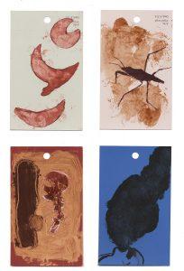 aspects of life 2004 No 6;7;8;9, Mischtechnik auf Farbkartenmustern, Format : jeweils 12,8 x 7,6 cm - Wolfgang Stiller