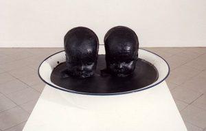 black twins, 2002, Wachs in Emailschüssel 27 x 27 x 25 - Wolfgang Stiller