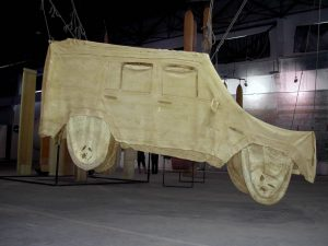 stripped car (jeep) 2007 Beijing ,A space materials : Latex,ropes 1000cm x 1000cm x 800 cm - Wolfgang Stiller