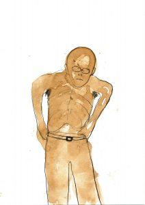 Mann zieht Hose an, 2000, Mischtechnik, ca 21 x 15 cm - Wolfgang Stiller