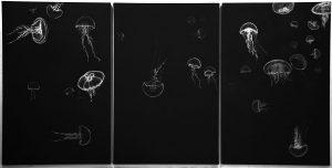 Quallentryptichon, 2009, Kreide, Acrylfarbe auf Papier, 180 x 360 cm - Wolfgang Stiller